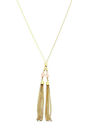 NECKLACE / DOUBLE HOMAICA BEAD / METAL CHAIN TASSEL / LINK / 32 INCH LONG / 4 INCH DROP / NICKEL AND LEAD COMPLIANT