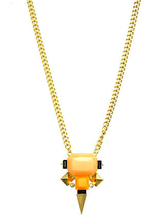 NECKLACE / GEOMETRIC HOMAICA STONE / BIB / CRYSTAL STONE / METAL SETTING / LINK / CHAIN / 16 INCH LONG / 2 INCH DROP / NICKEL AND LEAD COMPLIANT