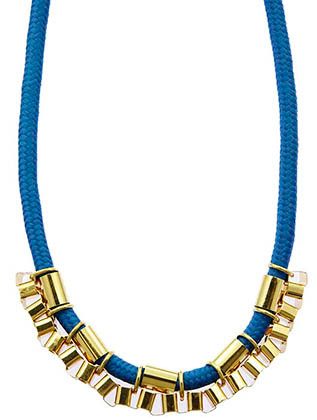 NECKLACE / BOX CHAIN / BRAIDED ROPE / 14 INCH LONG / 1/2 INCH DROP / NICKEL AND LEAD COMPLIANT