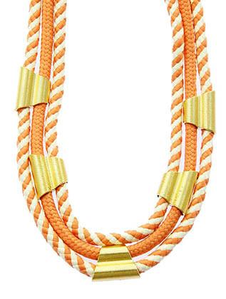 NECKLACE / THREE LAYER / BRAIDED ROPE / TEXTURED METAL CLAMP / 14 INCH LONG / 1 INCH DROP / NICKEL AND LEAD COMPLIANT