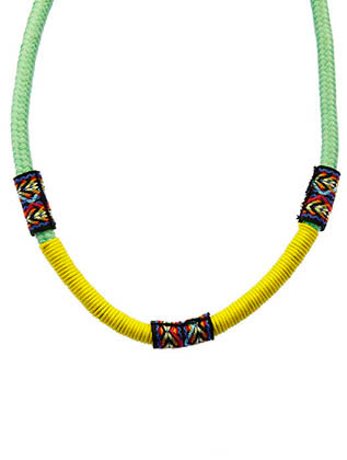 NECKLACE / EMBROIDERED FABRIC / BRAIDED ROPE / WRAPAROUND CORD / 12 INCH LONG / 1/4 INCH DROP / NICKEL AND LEAD COMPLIANT