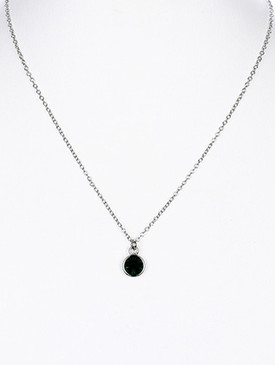 NECKLACE / GLASS STONE / PENDANT / LINK / CHAIN / 16 INCH LONG / 1 1/2 INCH DROP / NICKEL AND LEAD COMPLIANT