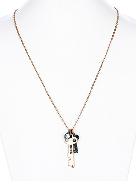 NECKLACE / KEY MESSAGE / PENDANT / HOPE / GLASS STONE / AGED FINISH / TWO TONE METAL / LINK / CHAIN / 28 INCH LONG / 2 INCH DROP / NICKEL AND LEAD COMPLIANT