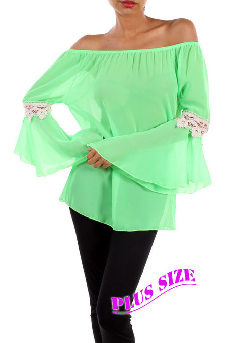 PS Plus Lace Elbows with On/Off The Shoulder - Neon Green