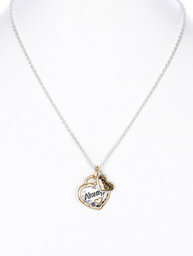 NECKLACE / ALWAYS / FOREVER / HEART / HAMMERED METAL / SINGAPORE CHAIN / CRYSTAL STONE / MATTE FINISH / 18 INCH LONG / 1 INCH DROP / NICKEL AND LEAD COMPLIANT