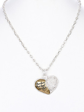 NECKLACE / FILIGREE / HEART / HAMMERED METAL / ONE LOVE / ONE HEART / BE TRUE / MATTE FINISH / METAL CHAIN / LINK / 18 INCH LONG / 1 1/2 INCH DROP / NICKEL AND LEAD COMPLIANT