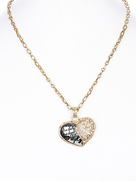 NECKLACE / FILIGREE / HEART / HAMMERED METAL / MATTE FINISH / ONE LOVE / ONE HEART / BE TRUE / METAL CHAIN / LINK / 18 INCH LONG / 1 1/2 INCH DROP / NICKEL AND LEAD COMPLIANT
