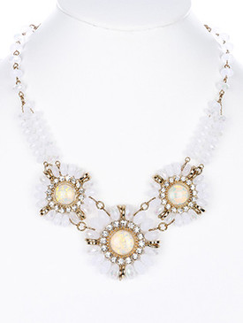 NECKLACE / GLASS STONE AND BEAD / BIB / FLORAL PATTERN / CRYSTAL STONE / LINK / CHAIN / 16 INCH LONG / 2 INCH DROP / NICKEL AND LEAD COMPLIANT