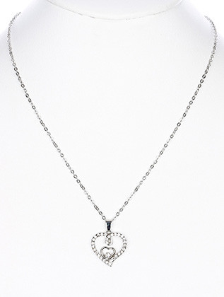 NECKLACE / DOUBLE HEART / PAVE CRYSTAL STONE / METAL SETTING / LINK / CHAIN / 18 INCH LONG / 1 INCH DROP / NICKEL AND LEAD COMPLIANT