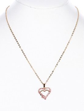 NECKLACE / INTERTWINED DOUBLE HEART / PAVE CRYSTAL STONE / METAL SETTING / LINK / CHAIN / 18 INCH LONG / 1 INCH DROP / NICKEL AND LEAD COMPLIANT