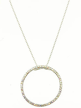 NECKLACE / PAVE CRYSTAL STONE / RING / CHAIN / 16 INCH LONG / 1 3/4 INCH DROP / NICKEL AND LEAD COMPLIANT