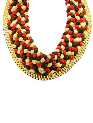NECKLACE / BRAIDED MULTI COLOR THREAD / BIB / BOX CHAIN / 12 INCH LONG / 2 1/2 INCH DROP / NICKEL AND LEAD COMPLIANT