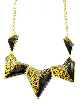 NECKLACE / LEOPARD PRINT / HAMMERED METAL / HOMAICA STONE / METAL CHAIN / 18 INCH LONG / 2 INCH DROP / NICKEL AND LEAD COMPLIANT