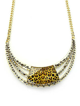 NECKLACE / LEOPARD PRINT / HAMMERED METAL / GLASS STONE / METAL CHAIN / LINK / FISH HOOK / 16 INCH LONG / 1 1/2 INCH DROP / NICKEL AND LEAD COMPLIANT