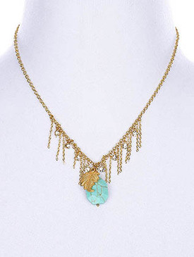 NECKLACE / SEMI PRECIOUS STONE / LEAF / 18 INCH LONG / 3 INCH DROP / NICKLE AND LEAD COMPLIANT