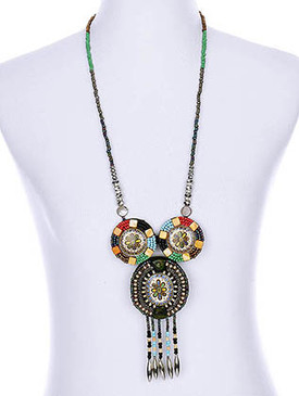 NECKLACE / MICRO BEAD / FELT / LUCITE BEAD / CRYSTAL BEAD / EPOXY / BEAD CHAIN / 7 INCH DROP / 28 INCH LONG / NICKEL AND LEAD COMPLIANT