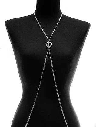 NECKLACE / BODY CHAIN / ANCHOR / LINK / 1 INCH DROP / 29 INCH LONG / NICKEL AND LEAD COMPLIANT