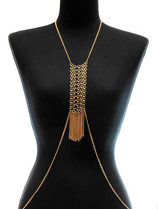 NECKLACE / BODY CHAIN / CHAINMETAL / LINK / 7 INCH DROP / 25 INCH LONG / NICKEL AND LEAD COMPLIANT