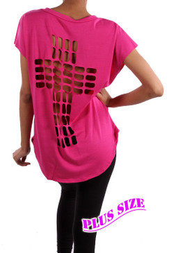 PS Plus Cross Cutout Design Top - Bright Pink