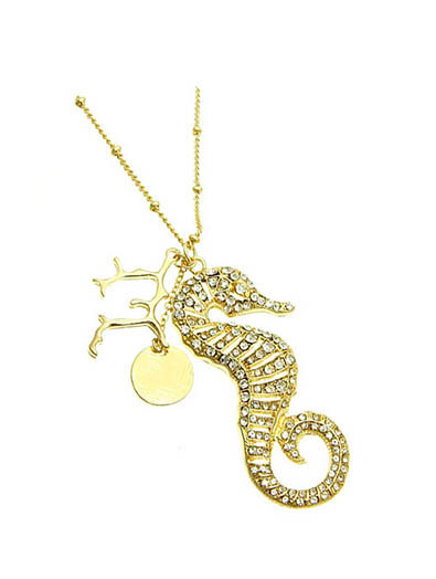 NECKLACE / CHARM / SEA HORSE / TEXTURE METAL / CRYSTAL STONE / 2 INCH DROP / 30 INCH LONG / NICKEL AND LEAD COMPLIANT