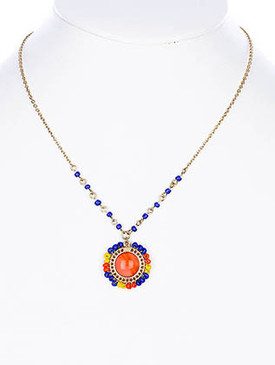 NECKLACE / LINK / ROUND / METAL / METAL CHAIN / LUCITE BEAD / 1 INCH DROP / 16 INCH LONG / NICKEL AND LEAD COMPLIANT