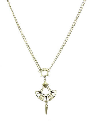 NECKLACE / FACTED HOMAICA STONE / CUTOUT METAL / SPIKE / EPOXY / LINK / CHAIN / 16 INCH LONG / 2 1/4 INCH DROP / NICKEL AND LEAD COMPLIANT
