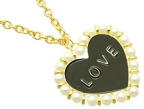 NECKLACE / HEART / LINK / METAL / PEARL BEAD / EPOXY / 2 1/4 INCH DROP / 32 INCH LONG / NICKEL AND LEAD COMPLIANT