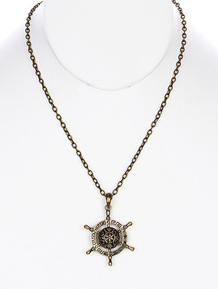 NECKLACE / SHIPS WHEEL CHARM / LINK / METAL / BURNISH / MARCASITE / 2 INCH DROP / 18 INCH LONG / NICKEL AND LEAD COMPLIANT