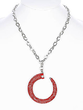 NECKLACE / ITALIAN CHARM / LINK / METAL / CRYSTAL STONE PAVED / EPOXY / 3 INCH DROP / 18 INCH LONG / NICKEL AND LEAD COMPLIANT