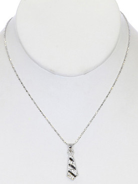 NECKLACE / TIE CHARM / LINK / METAL / CRYSTAL STONE PAVED / EPOXY / 1 INCH DROP / 16 INCH LONG / NICKEL AND LEAD COMPLIANT