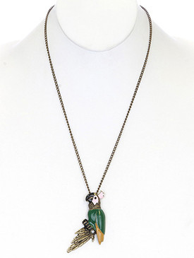 NECKLACE / PARROT CHARM / LINK / METAL / BURNISH / CRYSTAL STONE / EPOXY / ANIMAL / 3 INCH DROP / 24 INCH LONG / NICKEL AND LEAD COMPLIANT