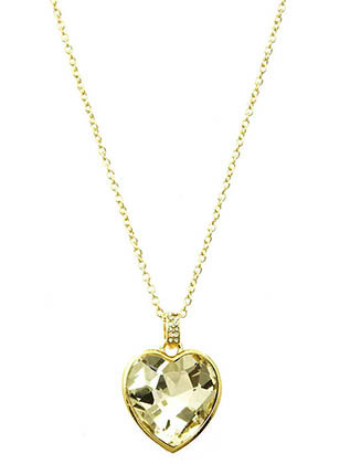 NECKLACE / FACTED HOMAICA / HEART PENDANT / METAL SETTING / LINK / CHAIN / 16 INCH LONG / 1 1/2 INCH DROP / NICKEL AND LEAD COMPLIANT