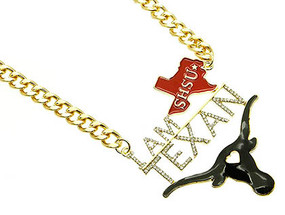 NECKLACE / I AM TEXAN / LINK / METALCHAIN / CRYSTAL STONE PAVED / EPOXY / MESSAGE / ANIMAL / LONGHORN / 3 INCH DROP / 16 INCH LONG / NICKEL AND LEAD COMPLIANT