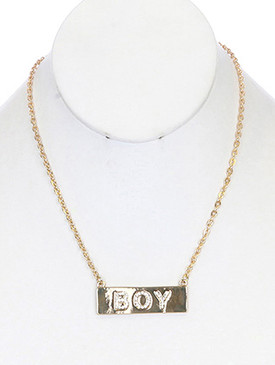 NECKLACE / BOY / LINK / METAL / MESSAGE / CRYSTAL STONE PAVED / 2/3 INCH DROP / 16 INCH LONG / NICKEL AND LEAD COMPLIANT