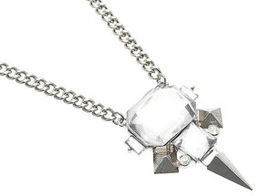 NECKLACE / SPIKE DESIGN / LINK / METAL / FACETED GLASS BEAD / CRYSTAL STONE / 1 3/4 INCH DROP / 16 INCH LONG / NICKEL AND LEAD COMPLIANT