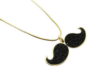 NECKLACE / MUSTACHE / LINK / METAL / CRYSTAL STONE / PROSTATE CANCER AWARENESS / 1 INCH DROP / 32 INCH LONG / NICKEL AND LEAD COMPLIANT