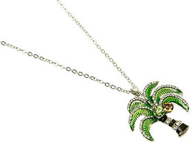 NECKLACE / PALM TREE / LINK / METAL / CRYSTAL STONE PAVED / EPOXY / 1 1/4 INCH DROP / 16 INCH LONG / NICKEL AND LEAD COMPLIANT