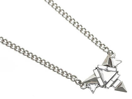 NECKLACE / FACETED GLASS BEAD / LINK / METAL / SPIKES / 1 INCH DROP / 16 INCH LONG / NICKEL AND LEAD COMPLIANT