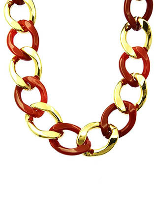 NECKLACE / LUCITE AND METAL / CHUNKY LINK / 16 INCH LONG / 1 INCH DROP / NICKEL AND LEAD COMPLIANT