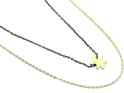 NECKLACE / BEAR CHARM / LINK / BRASS / 1/3 INCH DROP / 16 INCH LONG / NICKEL AND LEAD COMPLIANT