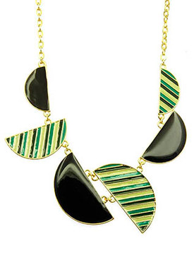NECKLACE / HALF MOON / EPOXY METAL PLATE / LINK / CHAIN / 14 INCH LONG / 2 INCH DROP / NICKEL AND LEAD COMPLIANT