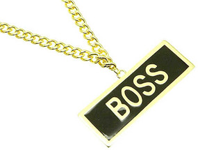 NECKLACE / MESSAGE / LINK / METAL / EPOXY / BOSS / 1 1/2 INCH DROP / 36 INCH LONG / NICKEL AND LEAD COMPLIANT