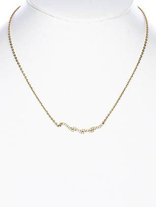 NECKLACE / CUBIC ZIRCONIA / LINK / BRASS / 1/8 INCH DROP / 16 INCH LONG / NICKEL AND LEAD COMPLIANT