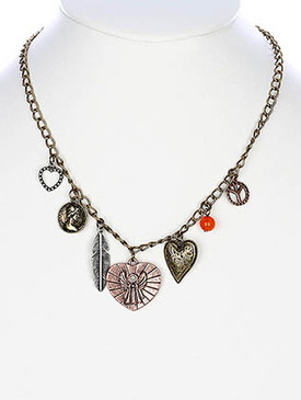 NECKLACE / HEART CHARMS / LINK / METAL / BURNISH / CRYSTAL STONE / ANGEL PEACE SIGN FEATHER / 1 1/4 INCH DROP / 18 INCH LONG / NICKEL AND LEAD COMPLIANT