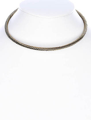 NECKLACE / CUFF / METAL / CHOKER / MARCASITE / 1/6 INCH DROP / 5 1/4 INCH WIDE / NICKEL AND LEAD COMPLIANT