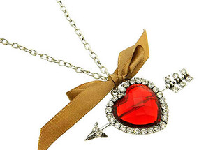 NECKLACE / HEART / LINK / METAL / BURNISH / CRYSTAL STONE / FABRIC RIBBON / 1 3/4 INCH DROP / 30 INCH LONG / NICKEL AND LEAD COMPLIANT