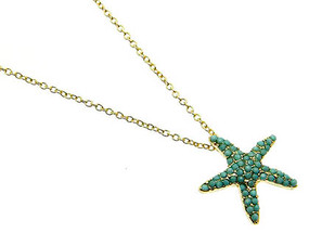 NECKLACE / SEASTAR / LINK / METAL / LUCITE BEAD / ANIMAL / SEALIFE / 3/4 INCH DROP / 18 INCH LONG / NICKEL AND LEAD COMPLIANT