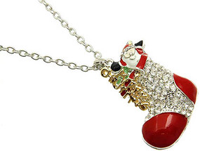 NECKLACE / SANTA CLAUS / LINK / METAL / CRYSTAL STONE PAVED / EPOXY / CHRISTMAS / 2 1/3 INCH DROP / 34 INCH LONG / NICKEL AND LEAD COMPLIANT