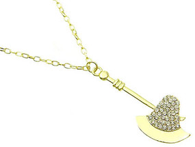 NECKLACE / HATCHET / LINK / METAL / CRYSTAL STONE PAVED / 2 1/4 INCH DROP / 18 INCH LONG / NICKEL AND LEAD COMPLIANT