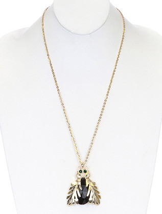 NECKLACE / BEETLE / LINK / METAL / FACETED LUCITE BEAD / CRYSTAL STONE / ANIMAL / 2 1/2 INCH DROP / 28 INCH LONG / NICKEL AND LEAD COMPLIANT